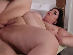 Fat woman is getting a cock shoved deep inside her fat pussy