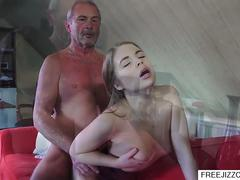 Adorable young cutie pie wants to satisfy her grandpa and gives him a head and then spreads her legs for him