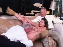 Two Old Shleps Eating Out Pretty Brunette Teen Pussy