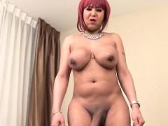 Redhead ebony tranny masturbating and teasing
