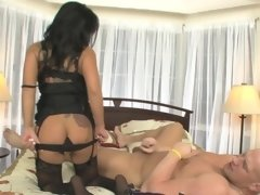 Pegging goddess Sienna West fills his tight asshole