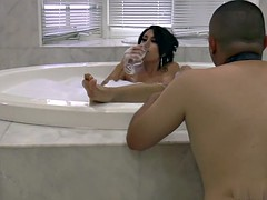 foot mistress with perfect tits in bubble bath