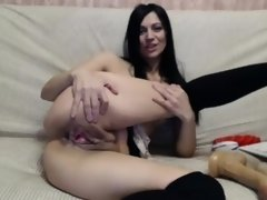 babe plays with monster dildo webcam