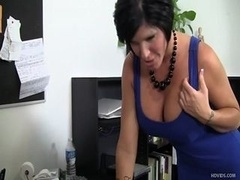 Boobalicious Soccer mom boss, Shay Fox, fucked over her own desk