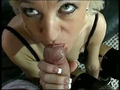 Old blond cowgirl in black underwear gives head and furthermore gets down and furthermore dirty stud on leather couch