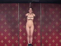 Bonded subdued slut gets nipple punished