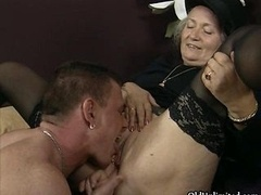 Aroused aged lady gets her cunt licked