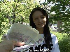 Amateur, Morena, Checa, Europeo, Dinero, Pov, Público, Montar
