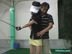 Far eastern Kitten Blowing off On Her Knees For Her Golf Instructor