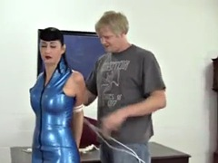 blue leather dress tied up