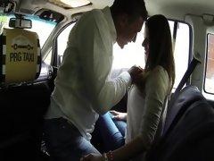 Horny MILF cheat in a cab
