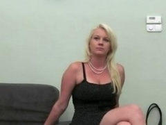 Blonde strip naked on the ottoman fake agent