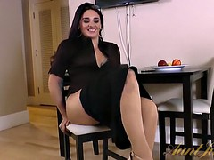 Sheena strokes her mature pussy and moans