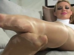 Dissolute stretching of love tunnel hole in fancy pantyhose