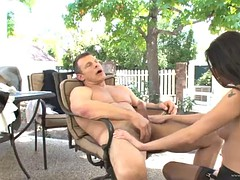 sexy maid's fucked by her boss in the patio