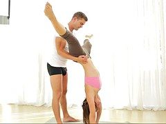 starlet with fine curves julia roca gets nasty after practicing yoga with her boy