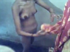 Desi young wife bathing
