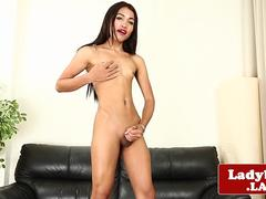 Solo ladyboy beauty with tight ass jerks off