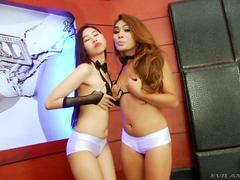 Ladyboys sharing a cock