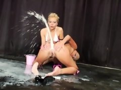 Enema babes squirting milk from their asshole