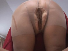 Curvy mature in sheer pantyhose posing and teasing