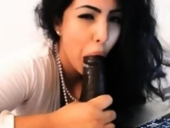 Kim Kardashian Look Alike Sucking Black Dildo