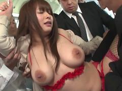 Sweet Japanese pornstar gets gangbanged so well in the bus