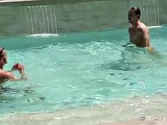 nextdoorbuddies str8 buddies enjoying the pool and roosters