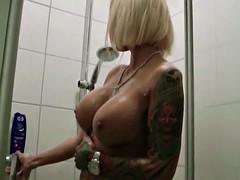 Stranger Caught German Big Tit MILF in Shower and Fuck her