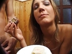 Wife does anilingus and Cum eating 2 Guy front Husband