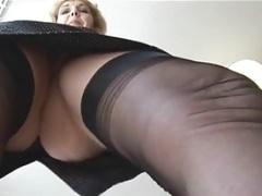 Old English blonde babe in stockings upskirt tease