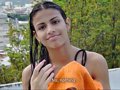 Chica, Tetas grandes, Bikini, Morena, Latina, Al aire libre, Solo, Tetas