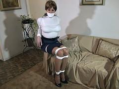 Sandra in her sleek leotard top