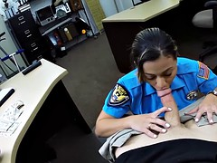 Sexy police officer gets nailed in a pawnshop to earn cash