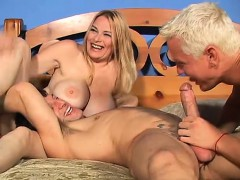 Two hunky fuckers enjoy penetrating this sexy woman's hot holes