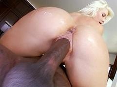 Thin white blondie taking large black dick