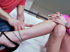 Footworshiped euro babe rides cock