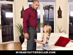 Kinderhüterin, Blondine, Spermaladung, Aufs gesicht abspritzen