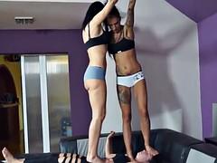 Lesbian trample feet
