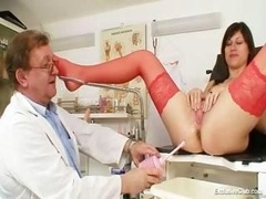 kinky gyno doctor fingers fuck hole of smoking hot dark haired