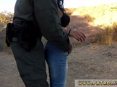Ebony babe with dark hair gets rammed by a handsome cop