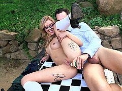 Playing chess gets her wet