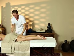 beautiful babe deepthroating masseurs cock