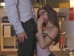 A big cock is getting inside a curvy girl with glasses in this video