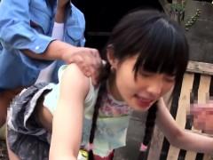 Petite japanese outdoor abbe spitroasted
