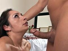 Busty Brunette VS Deepthroat Face Fuck