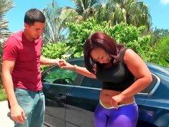 Slutty ebony woman gets a huge pecker with joy