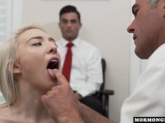 Skinny blonde babe gets rammed by a freaky doctor