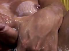 transsexual whore masturbates her big shecock in creamy milk and cums