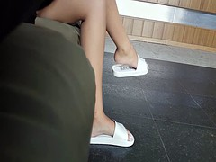 Hot teen girl sexy cute feet and toes in slippers